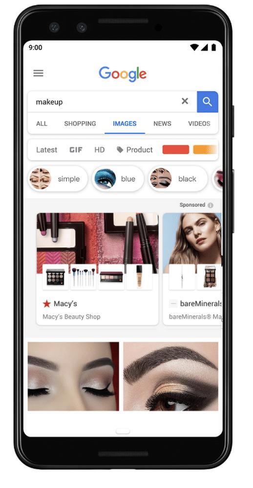 Comment se présentent les contenus sponsorisés dans google image ?