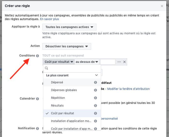 Paramétrages règles Facebook Ads